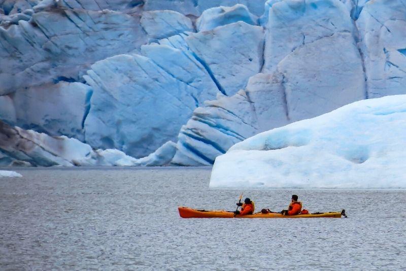 kayaking along Mendenhall Lake
