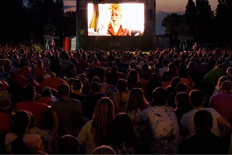 outdoor movie at Village Park