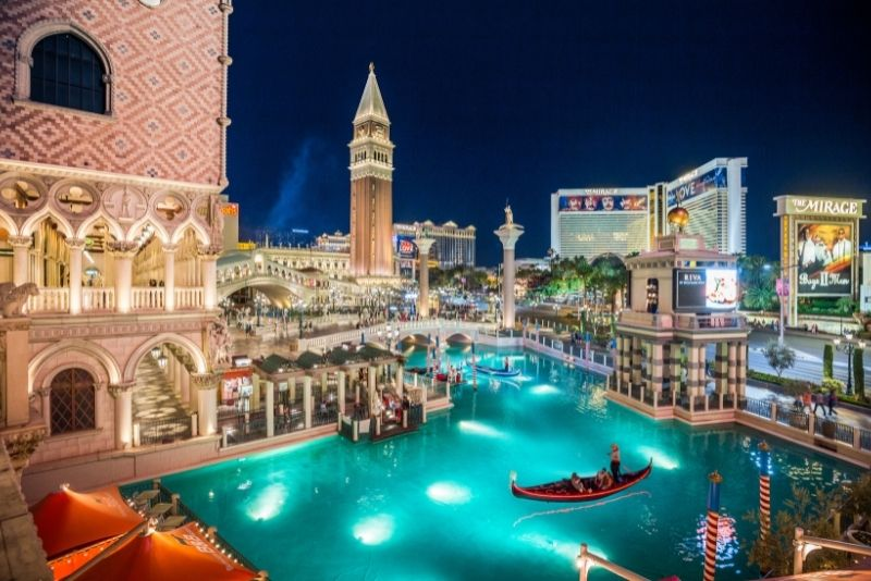 romantic gondola ride at the Venetian, Las Vegas