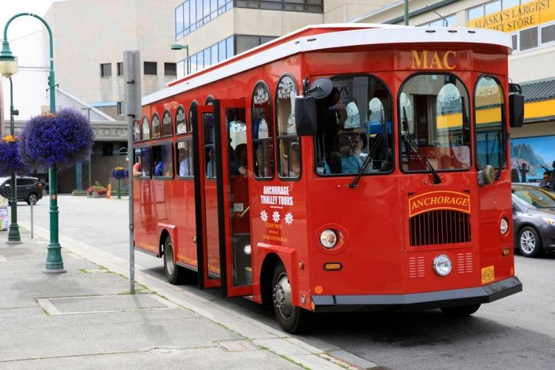 trolley bus tour in Anchorage
